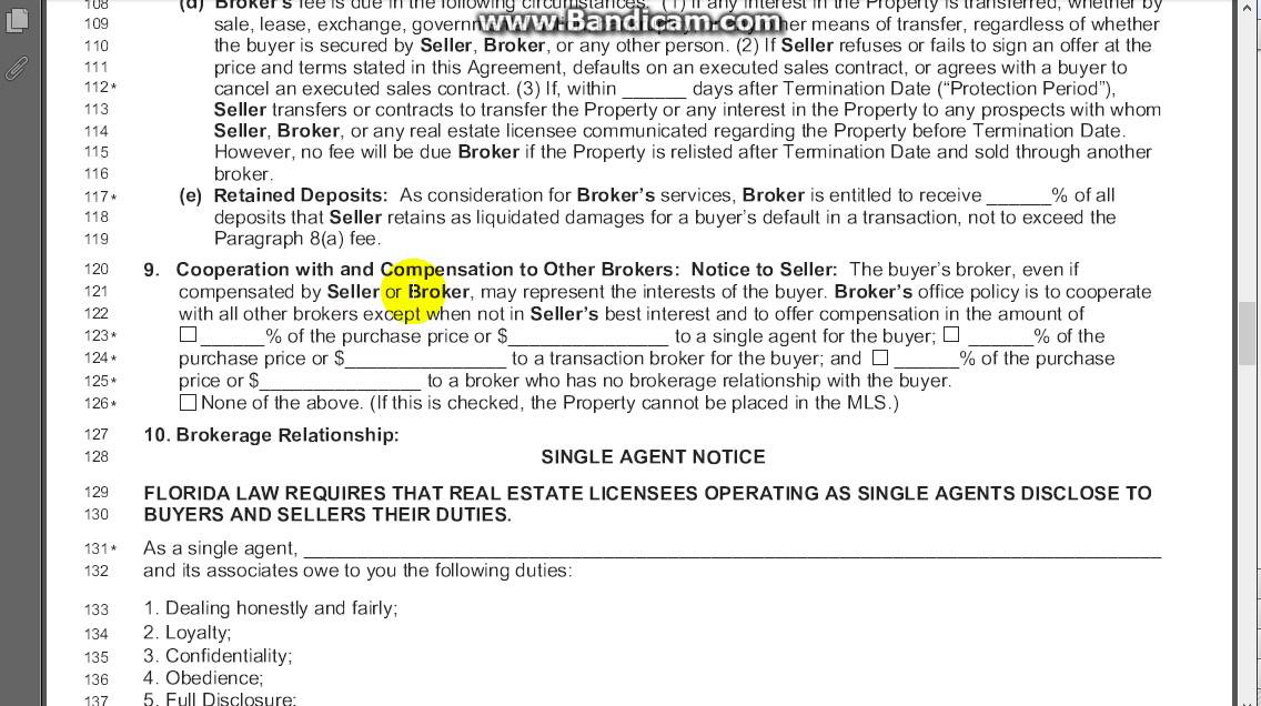 Exclusive Right of Sale Listing Agreement Section 9 - YouTube