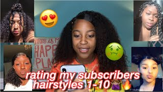 RATING MY SUBSCRIBERS HAIRSTYLES 1-10🙅��♀�🔥