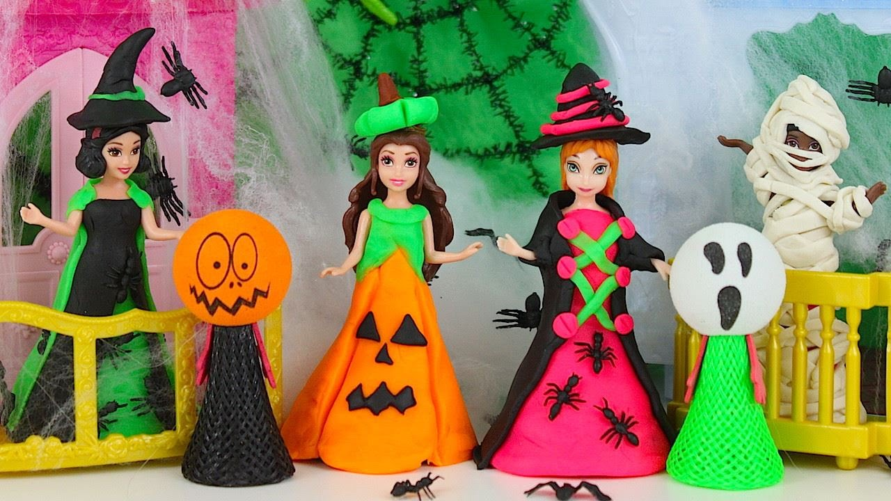 Play doh halloween costumes for our princess magic clip dolls play play doh halloween costumes for our princess magic clip dolls play doh video for kids youtube solutioingenieria Choice Image