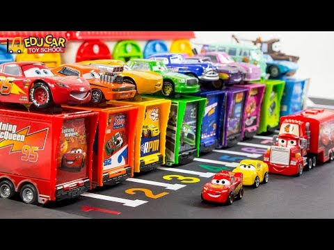 Learning Color Disney Cars Lightning McQueen Mack Truck Parking Play For Kids Car Toys