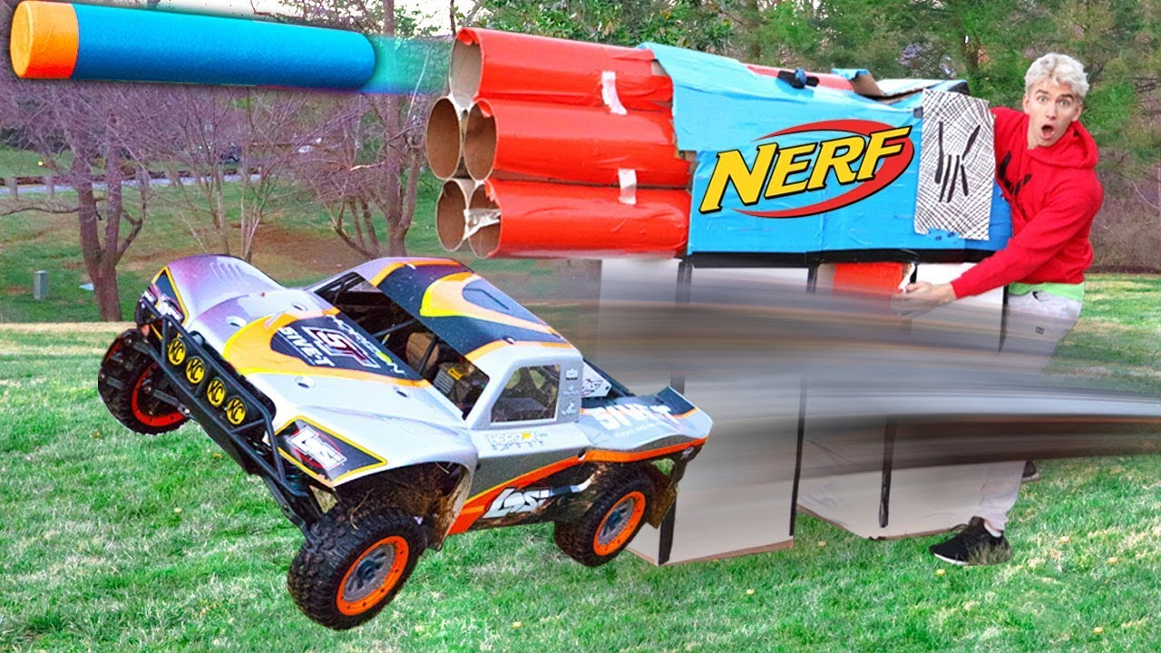 Worlds Biggest Cardboard Nerf Gun Vs Rc Car Youtube