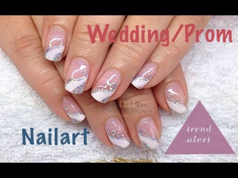 Wedding Prom Holographic Glitter French With Crystals Gems Youtube