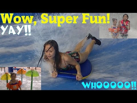 Indoor Water Park Playtime! Water Slides, Surfboarding, Kids' Swimming Pool, Wave Pool and More!