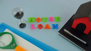 "Pan shot of ""House Loan"" words composed with colorful letters - finance concept"