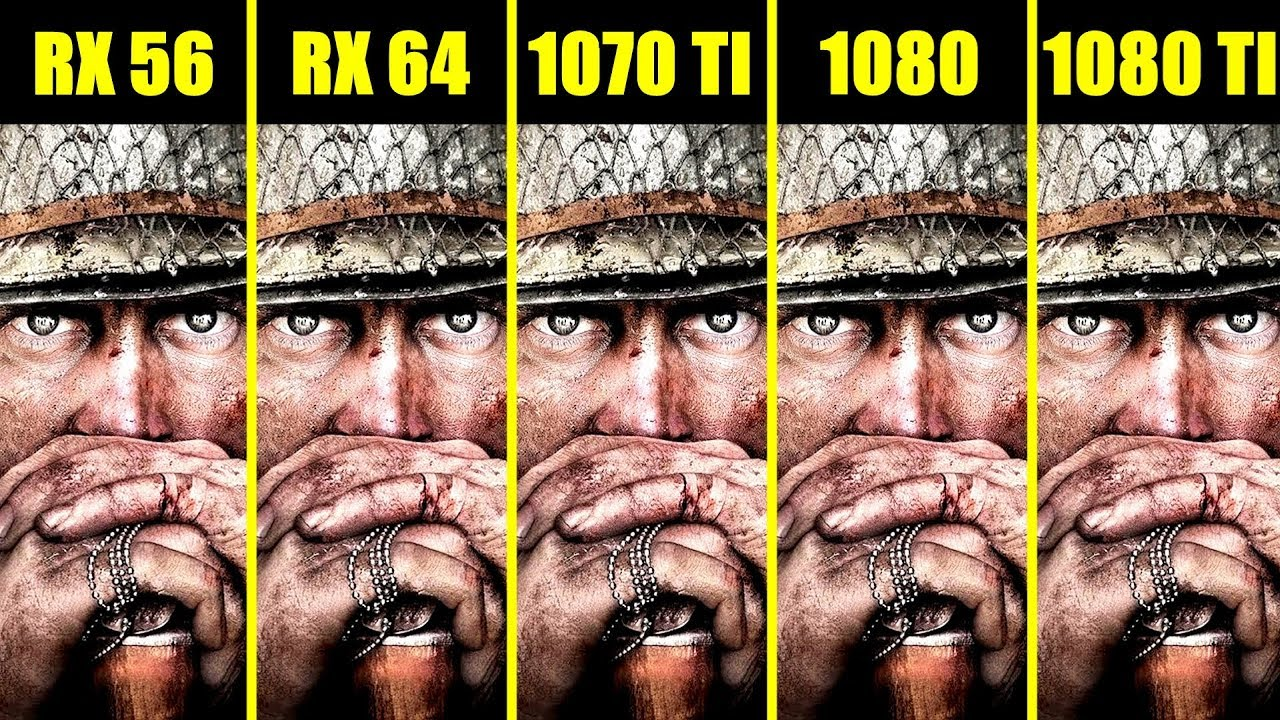 Call Of Duty WW2 1080 TI Vs 1080 Vs 1070 TI Vs AMD RX 64 Vs AMD RX 56 Frame  Rate Comparison