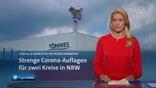 Themen der sendung: lockdown für zwei kreise in nrw nach corona-ausbruch beim fleischverarbeiter tönnies, rki informiert über corona-lage deutschland, bun...