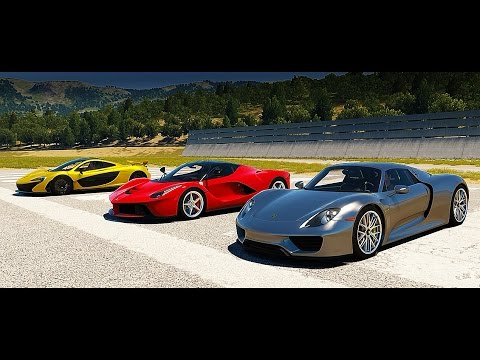 porsche 918 spyder vs mclaren p1 vs laferrari drag race forza horizon 2 yourepeat. Black Bedroom Furniture Sets. Home Design Ideas