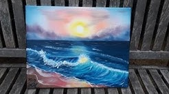 Sonnenuntergang am Meer, komplette Malanleitung auf deutsch für Anfänger und Fortgeschrittene