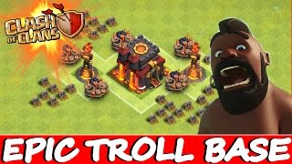 """Clash Of Clans   """"THE INFERNO TROLL BASE!""""   New Trolling Noobs Epic Defences + Funny Moments"""