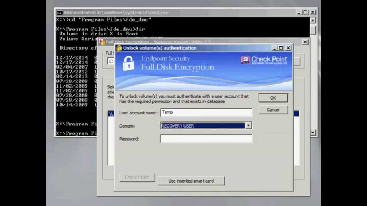 DMU - Step 3 unlocking the encrypted drive