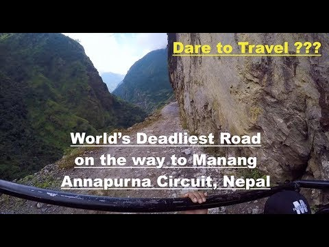 Download Deadliest Road of World, Annapurna Circuit, Nepal ,On the way to Manang from Besisahar
