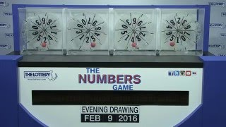 Evening Numbers Game Drawing: Tuesday, February 9, 2016