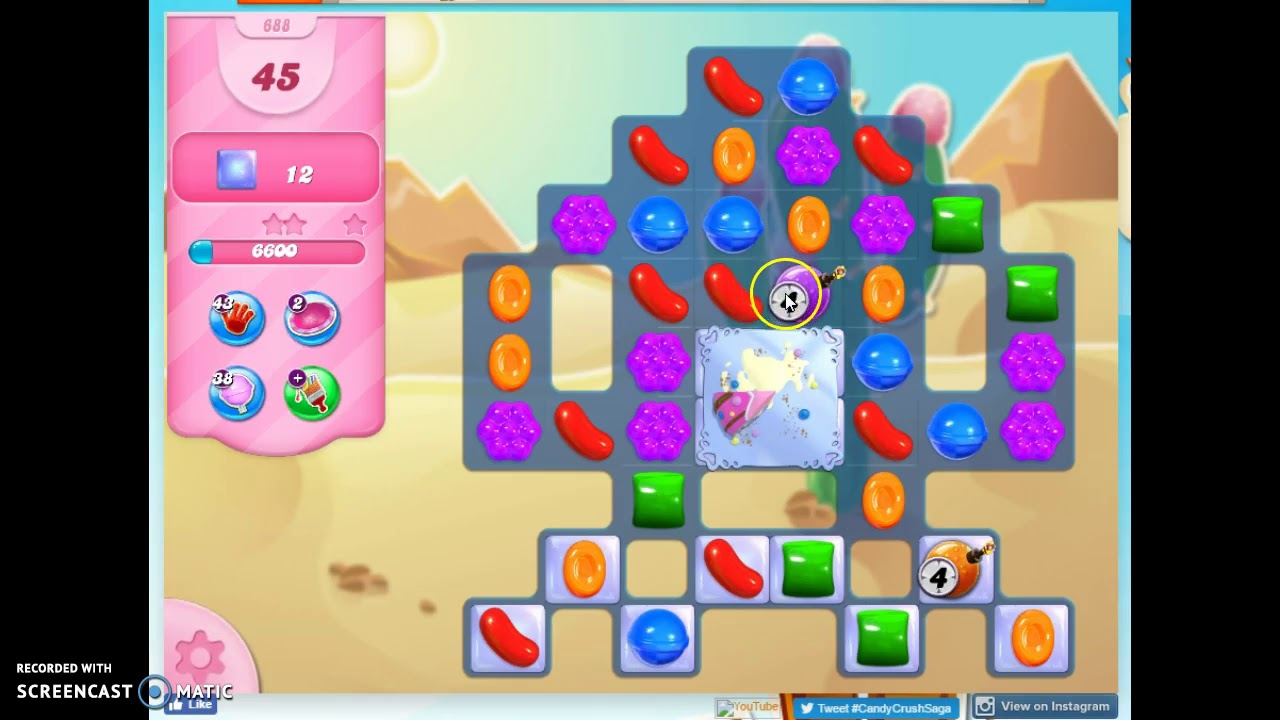 Candy Crush Level 688 Audio Talkthrough 2 Stars 0 Boosters Youtube