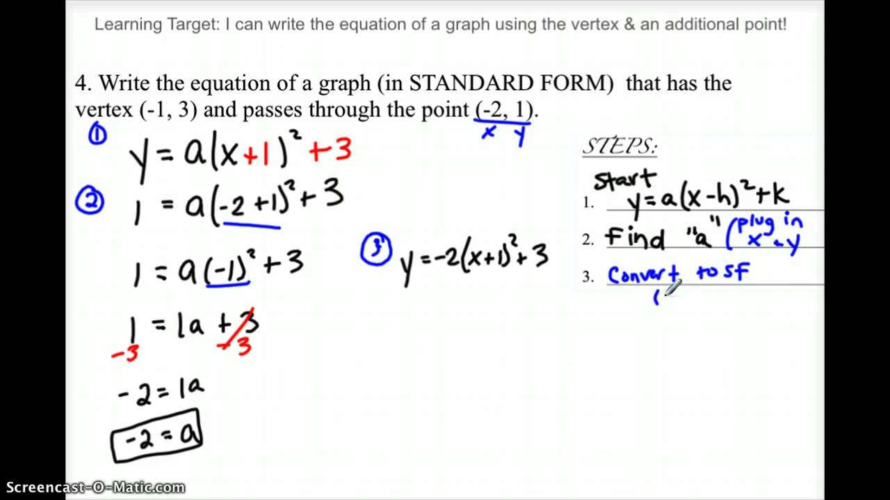 writing a quadratic equation from a graph  youtube