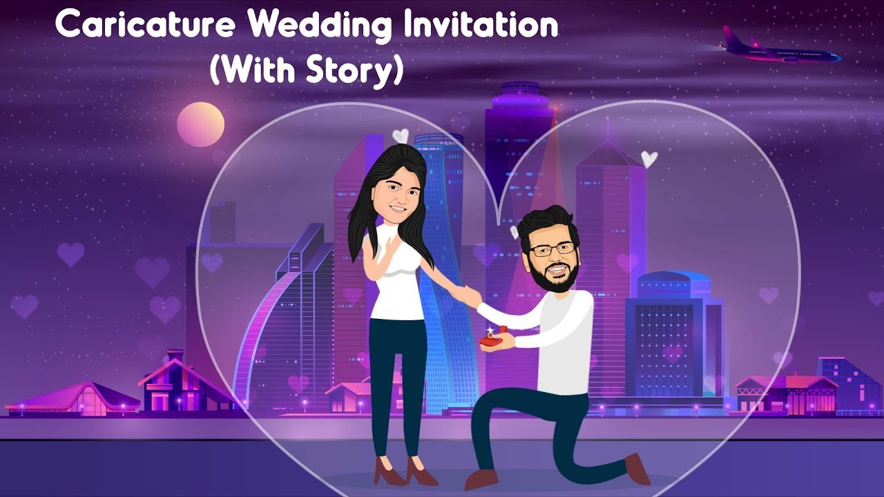 Caricature Wedding Invitation Video Latest Wedding Templates In 2020 Whatsapp Invitation 2020 Youtube