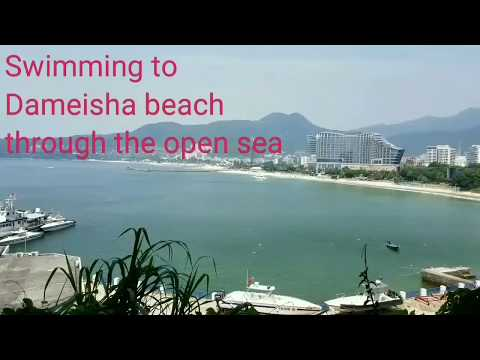 Extreme swimming across the sea to the most popular beach Dameisha in Shenzhen