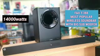 F&D T388 (14000watts) WIRELESS SOUNDBAR SYSTEM WITH BIG SUB WOOFER (SOUND TEST/BASS TEST)