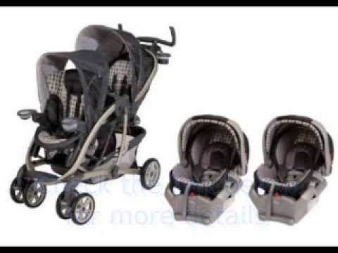 Double stroller travel system for twins - YouTube