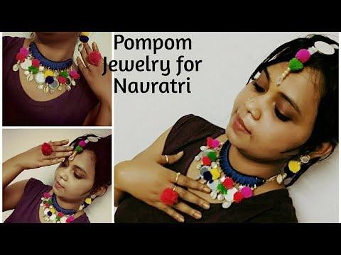 Navratri Jewelr | pompom necklace earrings | Navratri jewelry  garba jewellery, of waste materials |