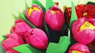 Тюльпаны из гофрированой бумаги.Тюльпани з цукерок, майстер-клас.(Как сделать цветы из конфет. Майстер-клас. композиции из конфет, подарки, пример подарка, оригинальный..., 2015-05-06T17:43:22.000Z)
