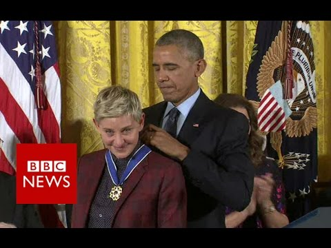 Barack Obama 'chokes up' giving Ellen DeGeneres 'Medal of Freedom' - BBC News