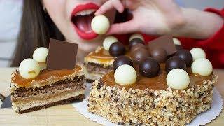 ASMR CARAMEL TOFFEE CAKE (SOFT & CRUNCHY Eating Sounds)