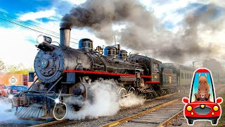 Поезда для детей все серии подряд. Изучаем железнодорожный транспорт. Поезда и вагоны для малышей