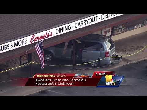 Video: Cars crash into Linthicum restaurant