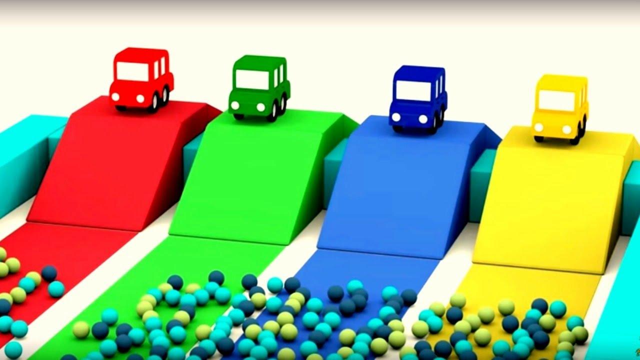 dessin anim avec 4 voitures color es course d 39 obstacle youtube. Black Bedroom Furniture Sets. Home Design Ideas