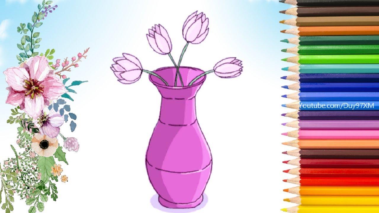 Hướng Dẫn Cách Vẽ Lọ Hoa Đẹp | Học Vẽ Bình Cắm Hoa Đơn Giản