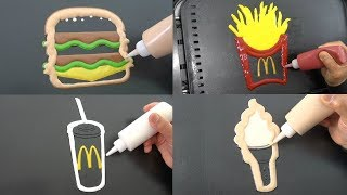 McDonald's Menu Pancake Art Challenge - Big Mac, French Fry, Drink, Soft Serve Ice Cream