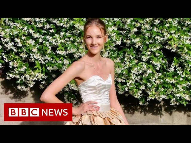 Woman makes 1,400-mango gown to highlight food waste - BBC News