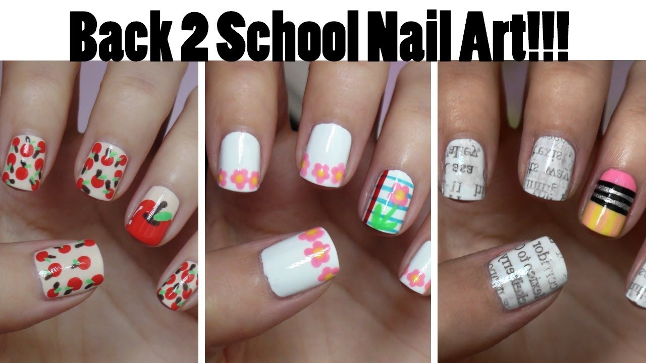 Back To School Nails Three Easy Designs Youtube
