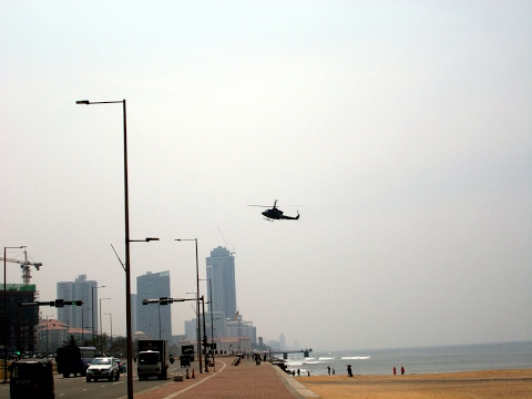 Helicopter landing at Sri Lanka's capital Colombo :)