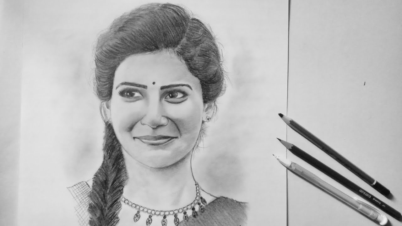 Pencil Art Of Samantha Akkineni Surya Pencil Art Youtube