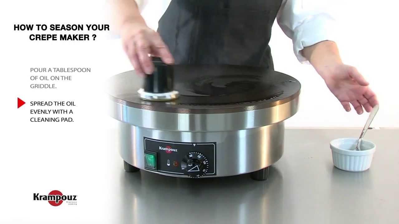 how to maintain season your crepe maker krampouz youtube. Black Bedroom Furniture Sets. Home Design Ideas