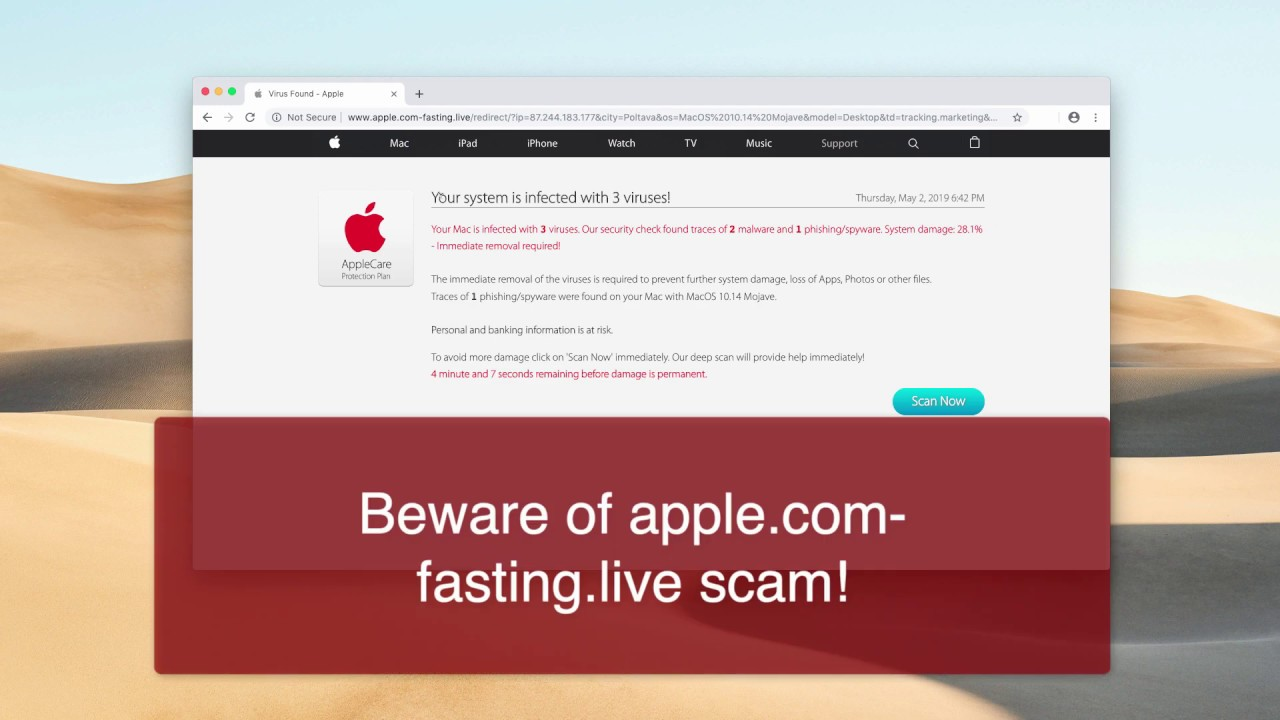 Apple com-fasting live scam removal video (Mac)