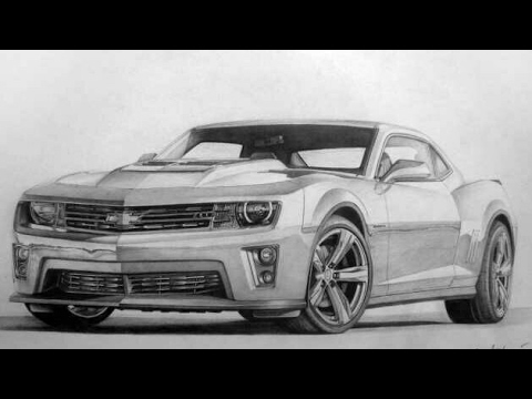 how to draw A Camaro car step by step with pencil ...