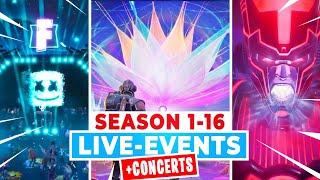 All Fortnite LIVE-EVENTS Season 1-16 (*NEW* Zero Crisis Event)