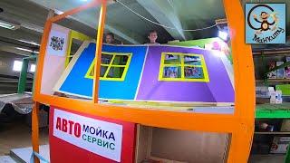 Дети и Машина Диана и Даня играют в строителей разбирают домик для детей МанкиТайм