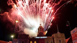 Inverurie Town Hall firework display during Christmas lights switch-on November 2018