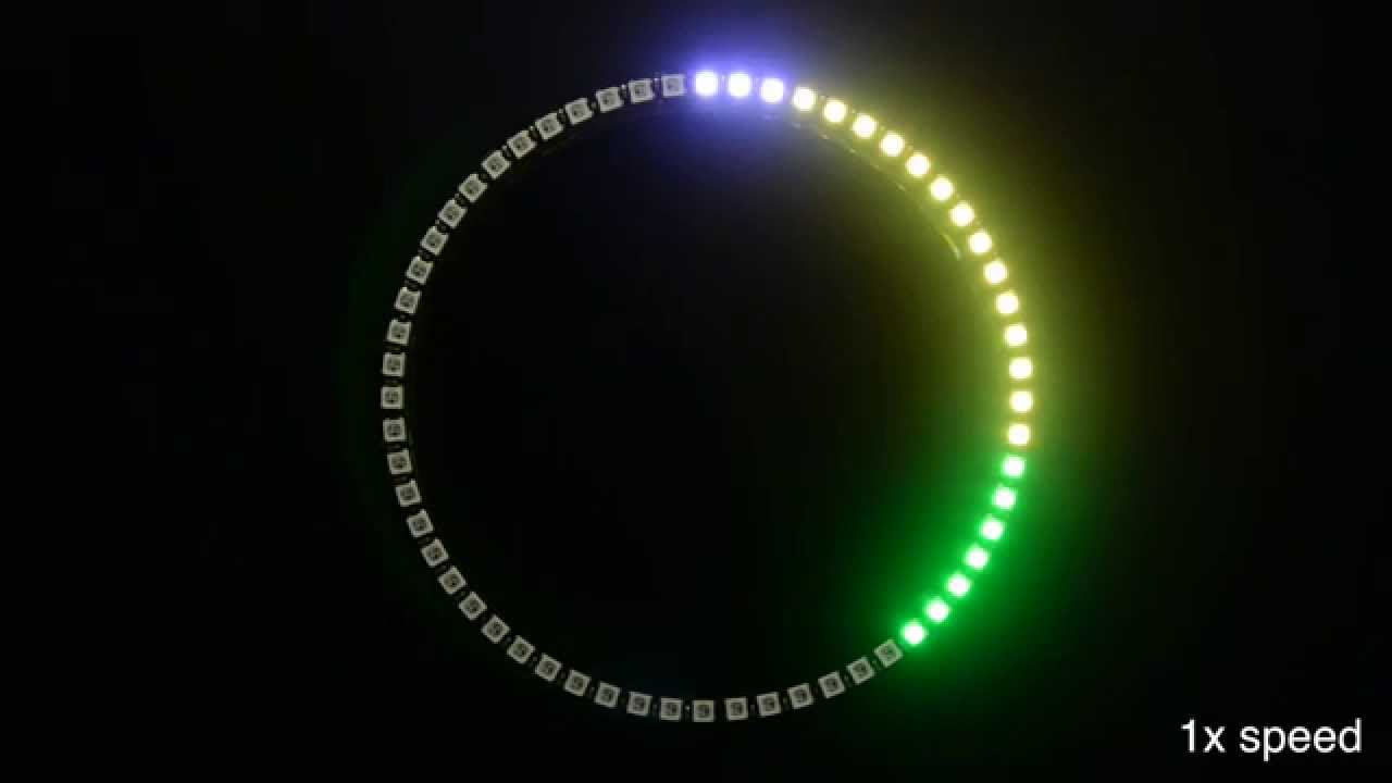 60 Neopixel Ring Clock In Action Youtube Led Wiring Diagram