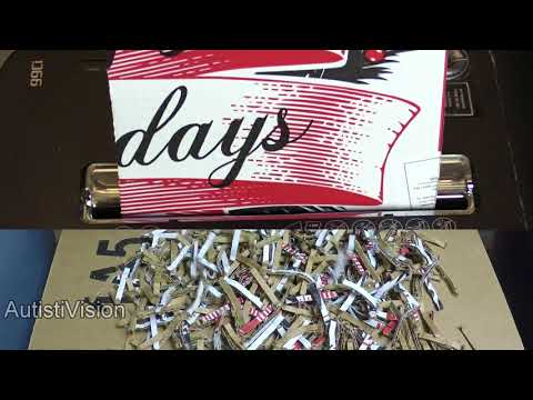 Shredding corrugated cardboard in a paper shredder part 1 - ASMR - Satisfying