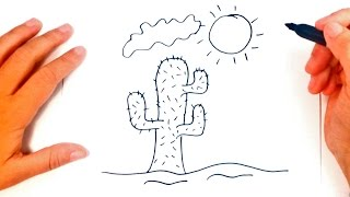 How to draw a Desert for kids | Desert Drawing Lesson Step by Step