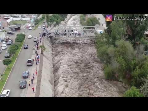😰Río Moquegua - Precisos INSTANTES del ingreso del río 05 Febrero 2019