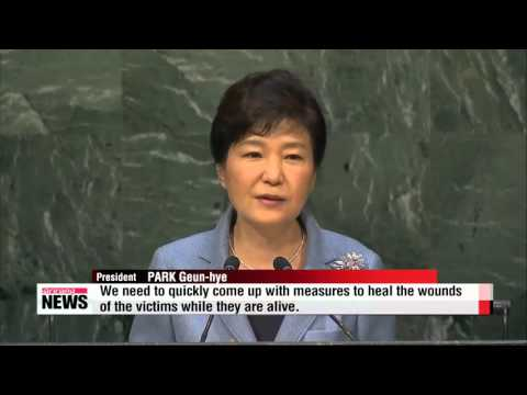 President Park calls on Japan to acknowledge history   박대통령 유엔연설 한일관계