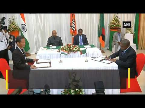 President Kovind signs four agreements with Zambian President Edgar Lungu