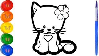 Как нарисовать кошку. Мультик раскраска животные для детей. Раскраски Малышам.