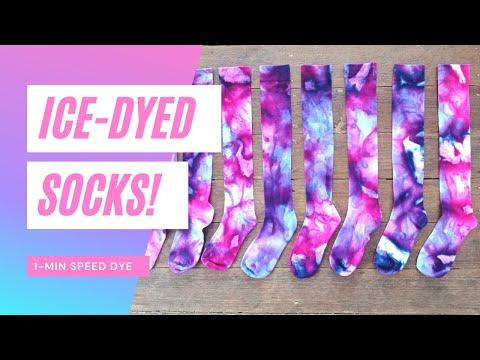 Ice-Dyed Socks! Stunning pink + purple ice-dye technique