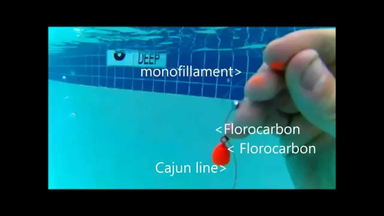5ft visability test of cajun line vs monofillament vs for Fishing line test